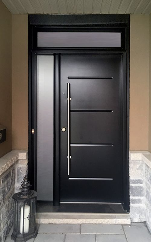 black front door with pull bar handle | Modern Front Doors ...