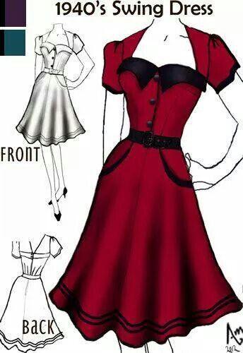 Pin von Kiet h auf Fashion | Pinterest | Modezeichnungen, Rockabella ...