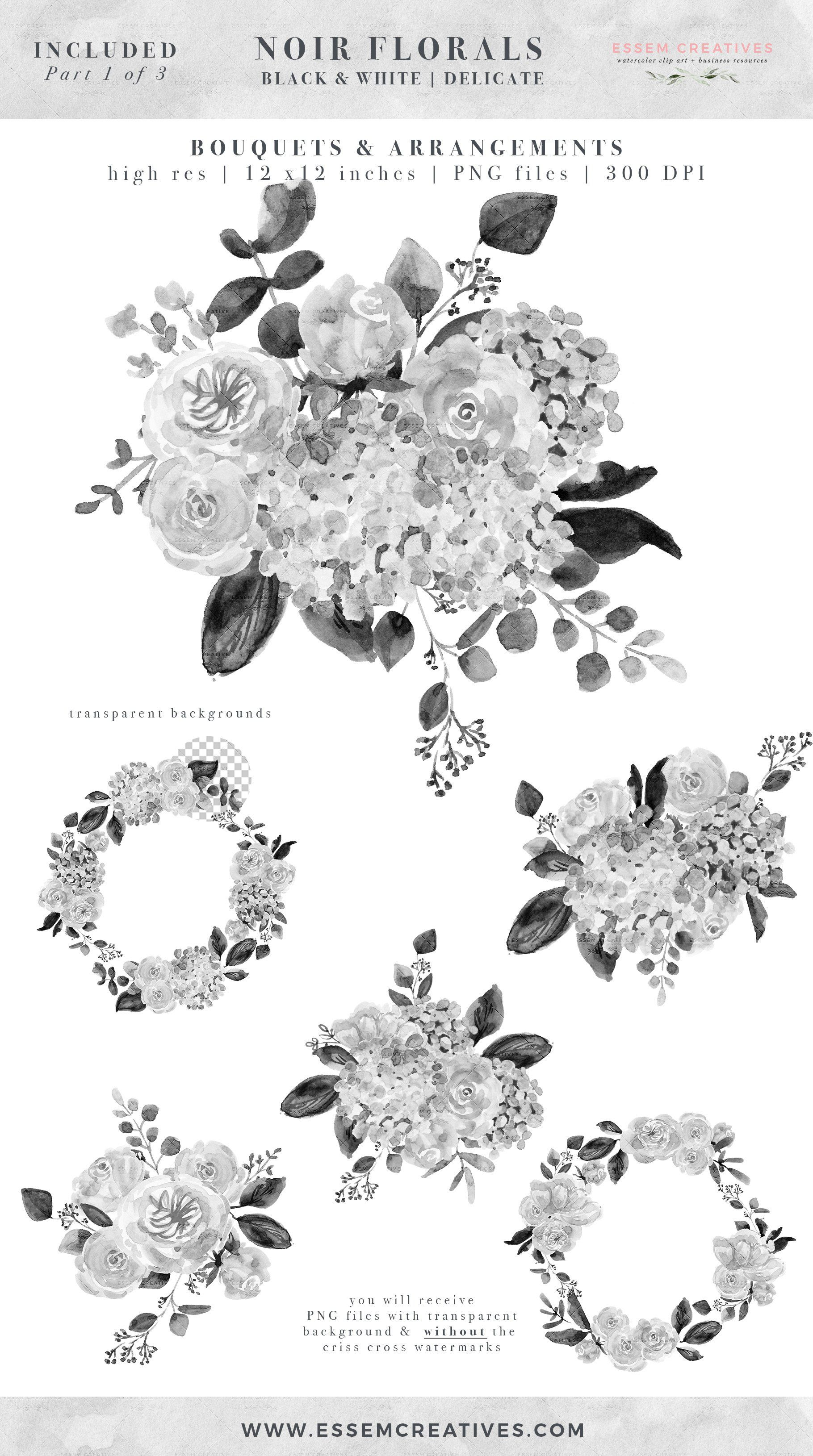 Black And White Flowers Graphics Floral Illustrations Floral Watercolor Floral Wreath Watercolor