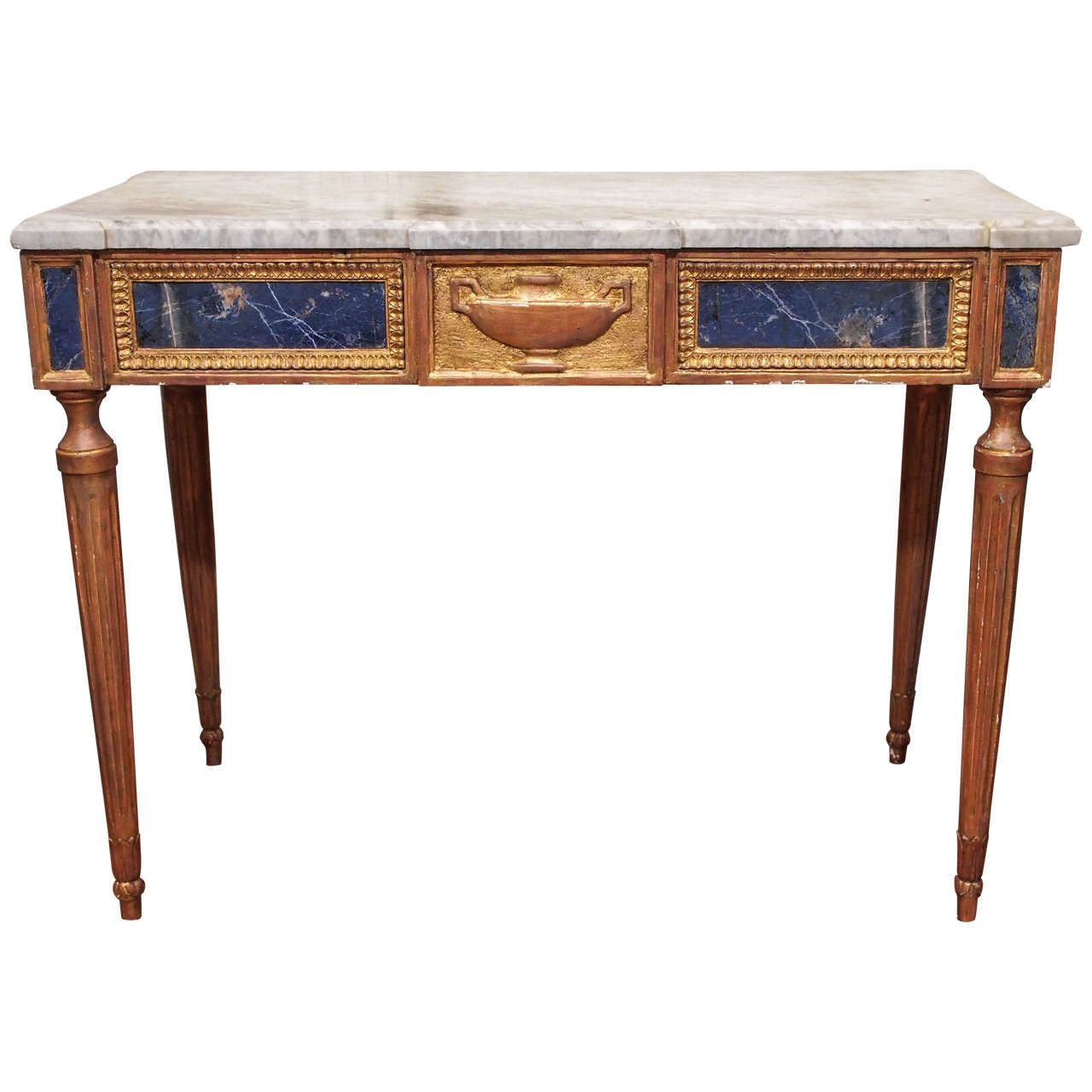 Affordable Vintage Furniture: Italian Louis Xvi Console Table With Lapis Lazuli Panels