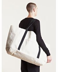 White Mens Oversized Canvas Bag | Rick owens, Canvases and Bag