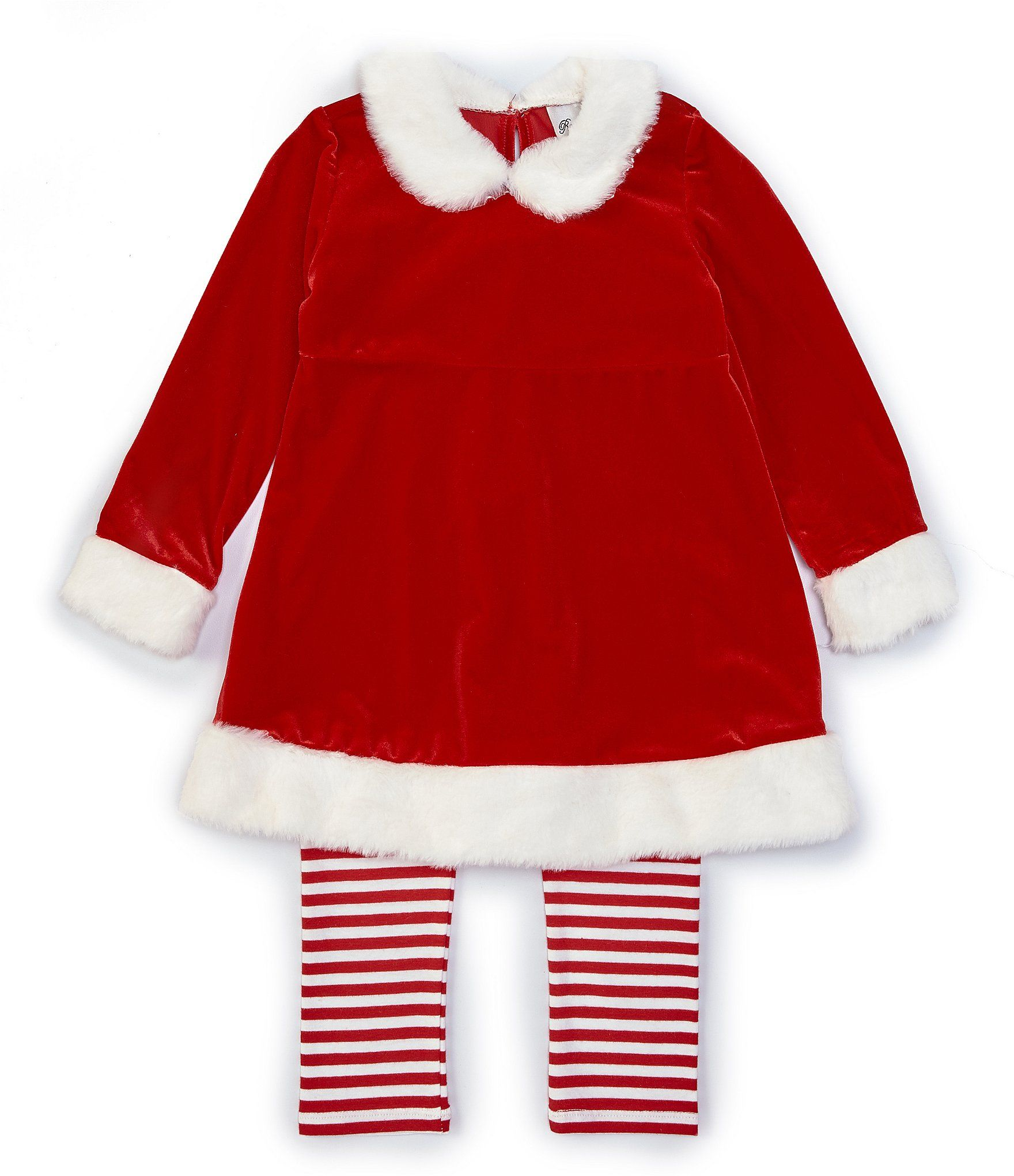 Rare Editions Little Girls Christmas Santa Clause Top  Striped Leggings Set - Red 6X #stripedleggings