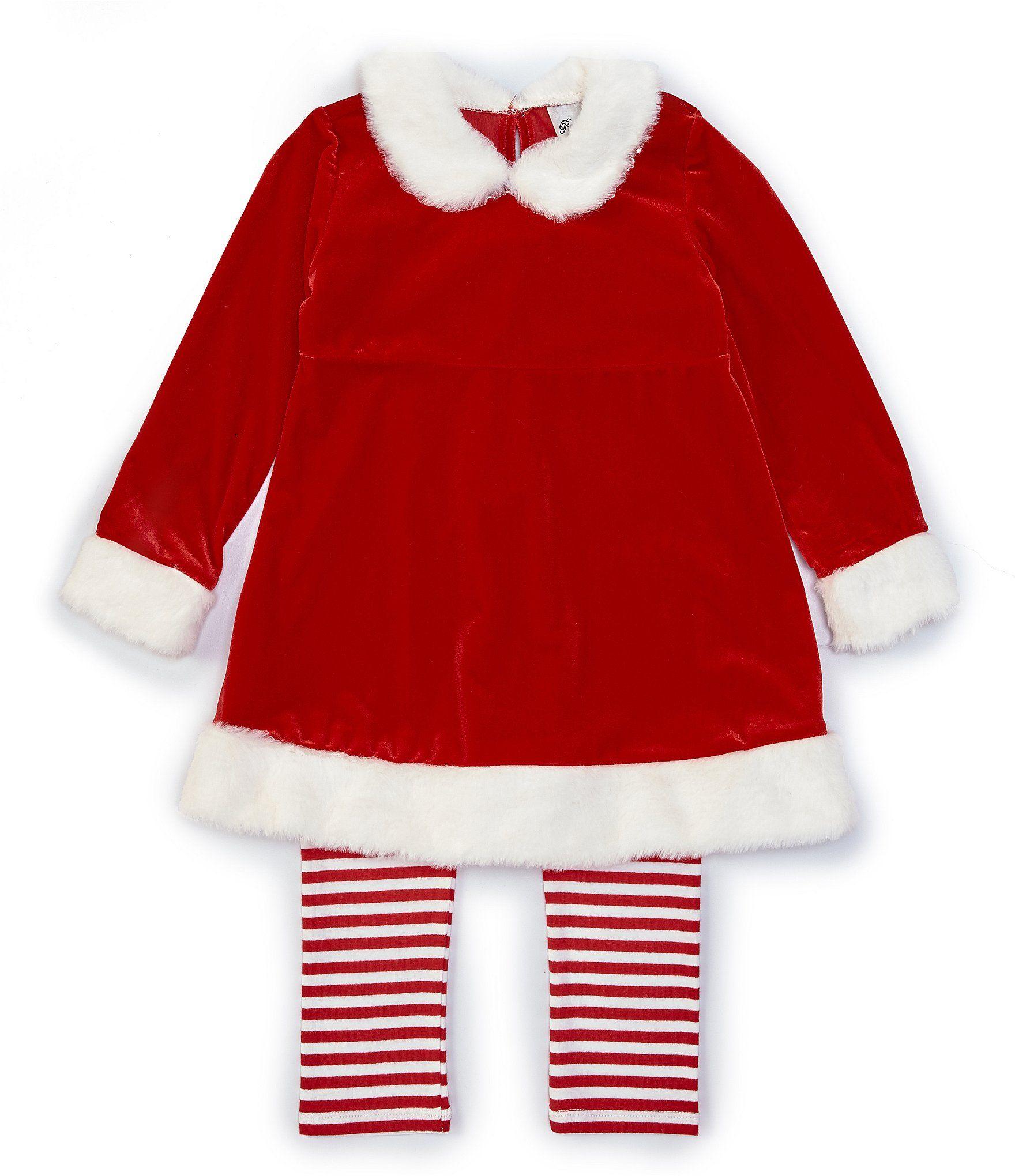 Rare Editions Little Girls Christmas Santa Clause Top  Striped Leggings Set - Red 6X #stripedleggings