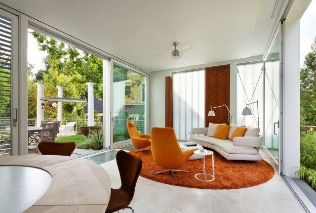Einrichtungstrends Fr Wohnzimmer Orange Sitzgruppe Und Rundteppich