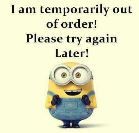 I Am Temporarily Out Of Order Please Try Again Later Funny Minion Quotes Minions Funny Minion Jokes