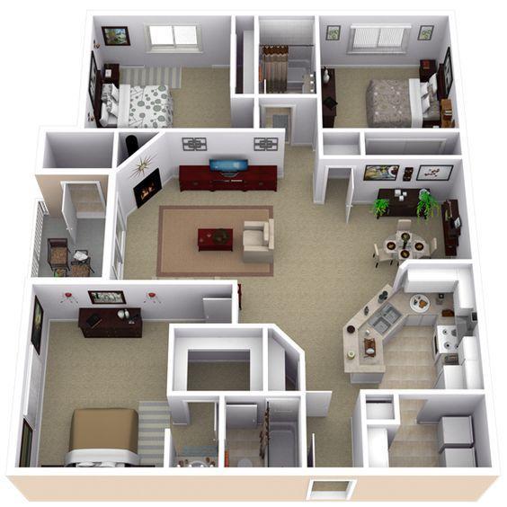 3 Bedroom Apartment Floor Plans Buscar Con Google Planos De Casas Medidas Planos Para Construir Casas Diseno De Casa Planos