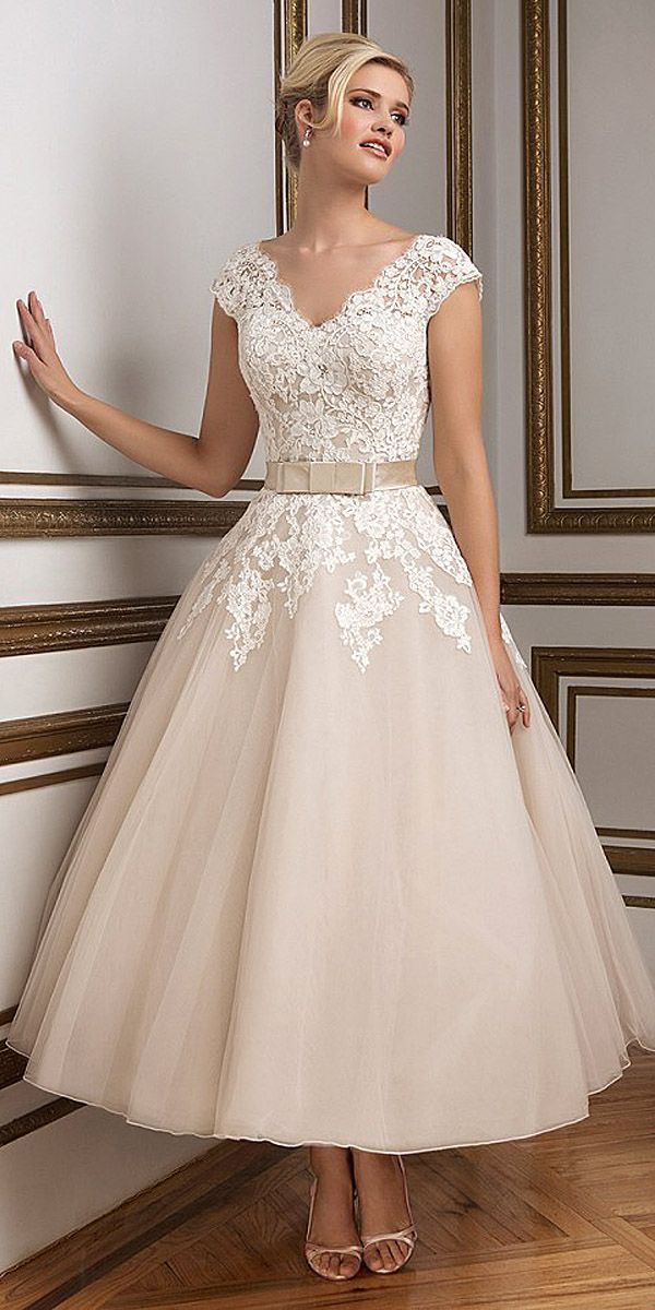 Tea length wedding dresses via justin alexander tea for Silver tea length wedding dresses