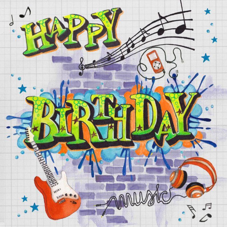 Verjaardag Man Muziek Graffiti B Day Cards Verjaardag