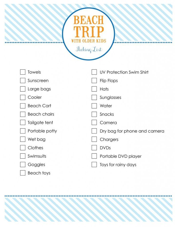 Beach Trip Packing Lists Every Day Cheer (With images