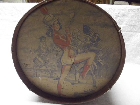 Vintage Toy Drum With Parade Girl On Front by Kats3meows on Etsy, $17.95