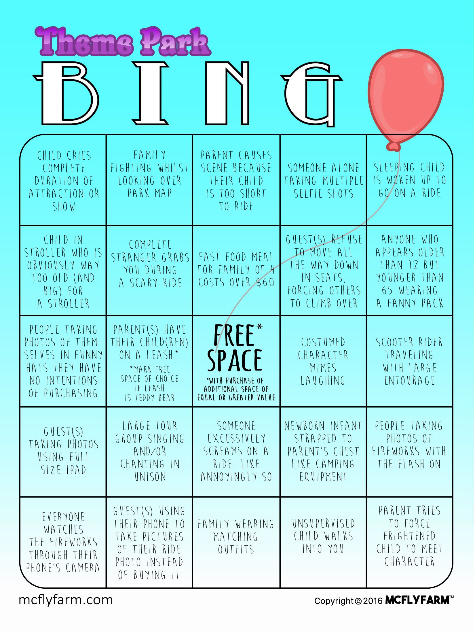 Before You Jet Off To Disney Universal Six Flags Or Whatever Your Theme Park Preference May Be Don T Forget To Grab Y Theme Park Bingo Cards Amusement Park