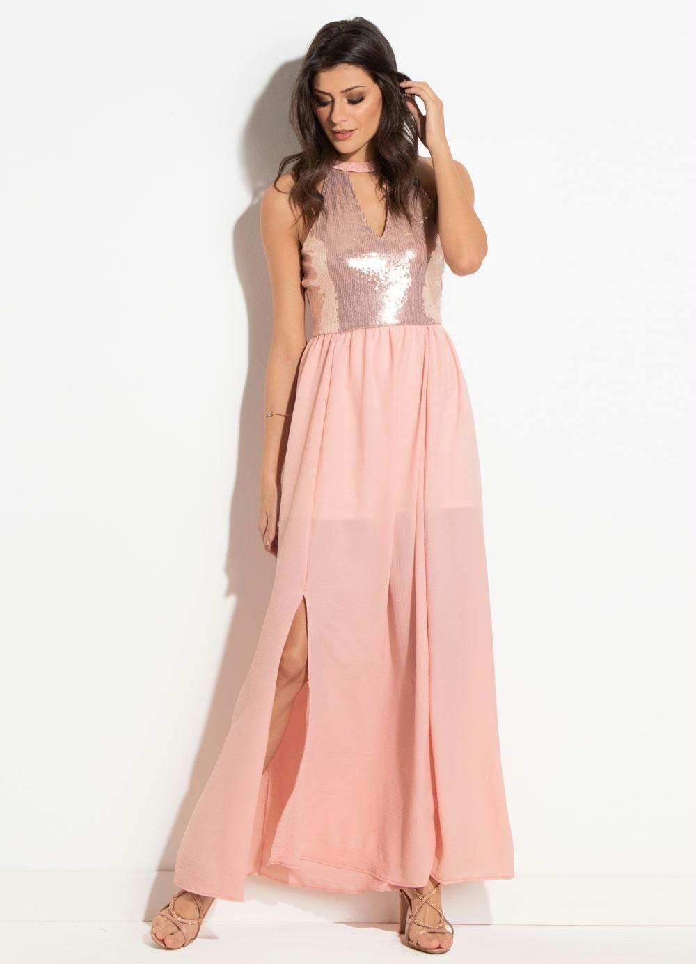 Vestido Longo Com Fenda Frontal Disponível Do P Ao Xlg