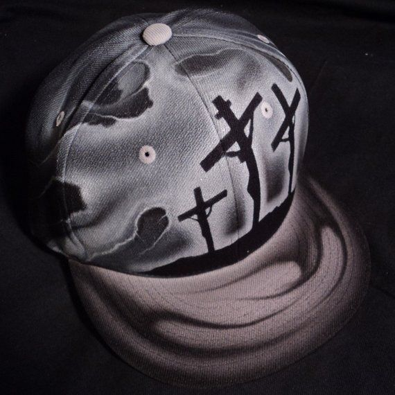 ecd42f39 Airbrushed Jesus Cross Christian Snapback Hat Hand Painted airbrush