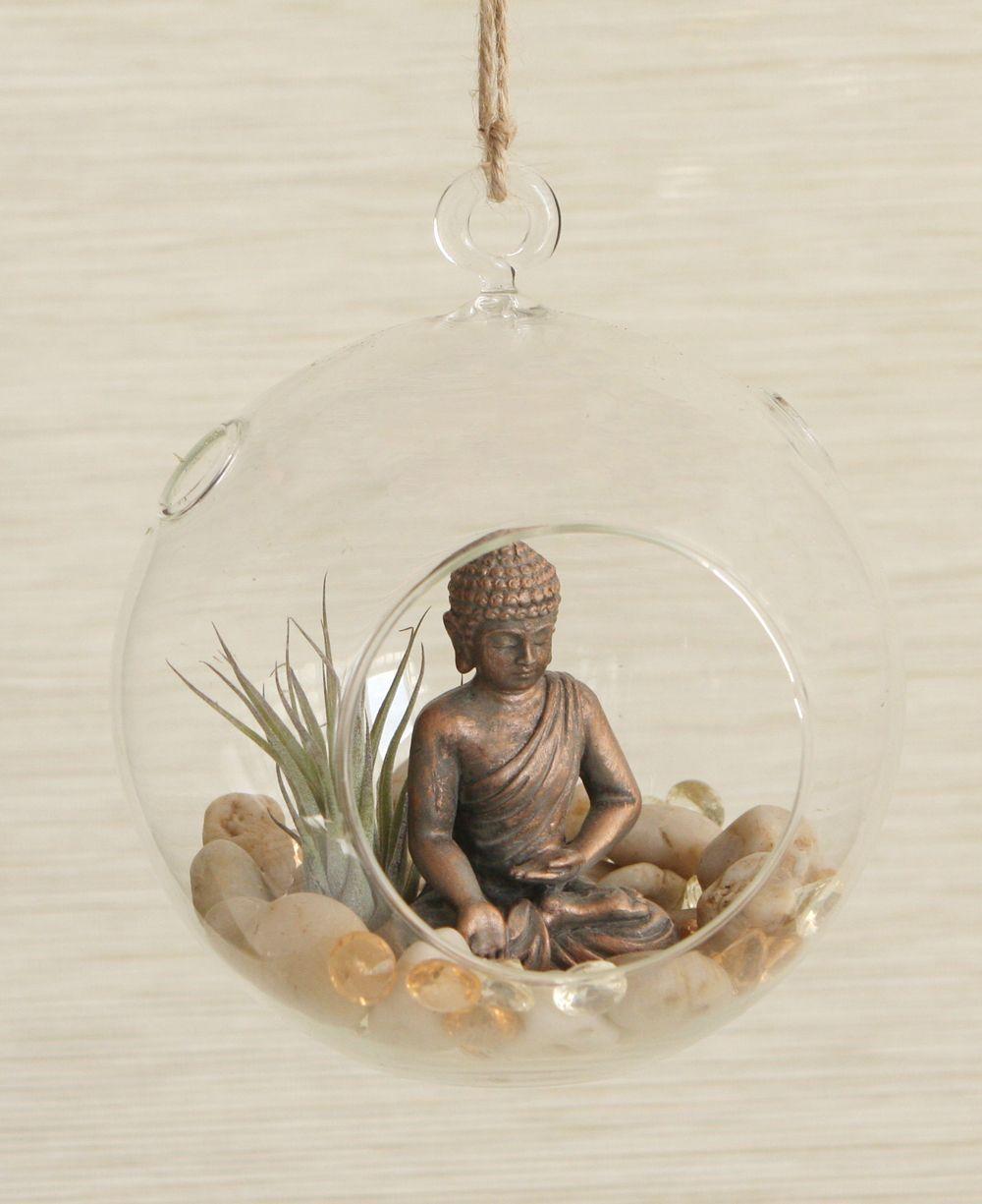 65 Philosophic Zen Garden Designs: Sparkling Buddha Globe Terrarium