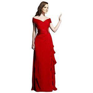 FashionファッションPlazaChiffonDoubleV-neckBridesmaidFormalEveningPartyDressD0205(US4,Blackブラック黒)レディース\ドレス\ウェディングドレス