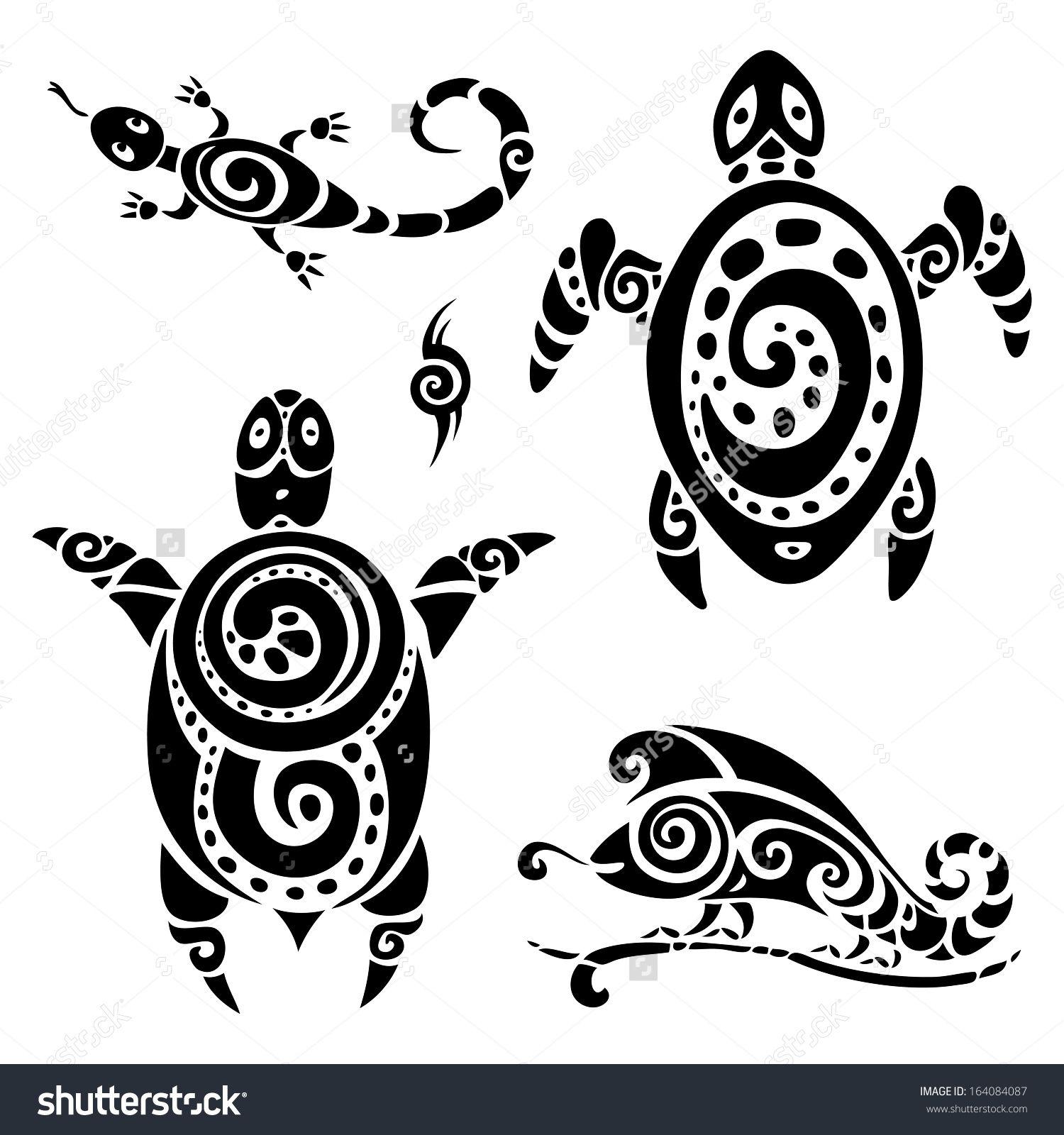 Turtle. Polynesian Tattoo. Tribal Pattern Set. Vector Illustration ...