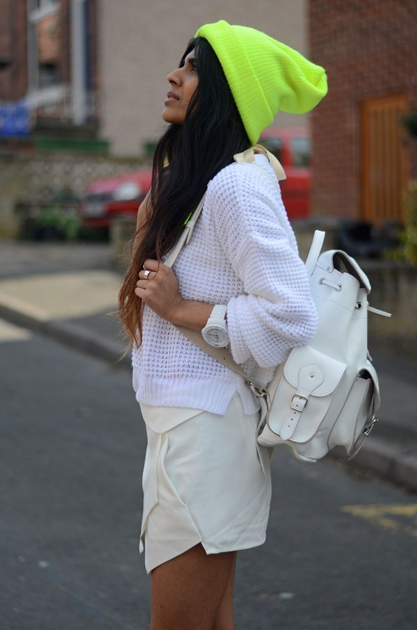 She Wears Fashion - UK Fashion blog: Neon.White rucksack by Grafea