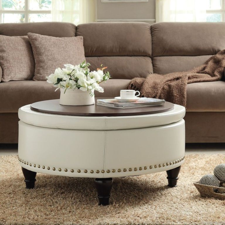 Round Padded Coffee Table Cool Beautiful Ottoman With White Color Upholstered