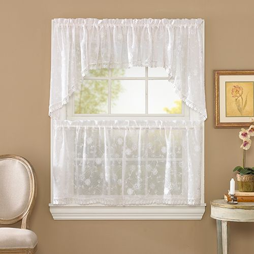Boscov S 414581 Laura Embroidered Sheer Lace Trim Valance 58x13
