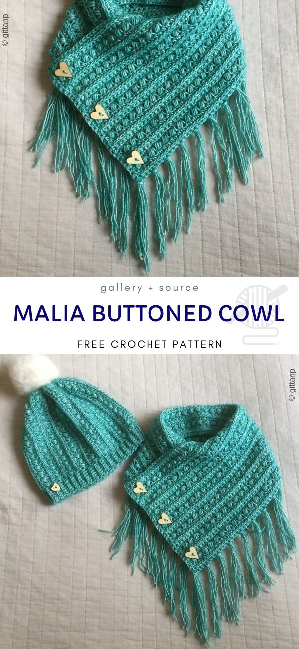 Comfy Buttoned Cowls in 2020 (With images)   Crochet cowl ...