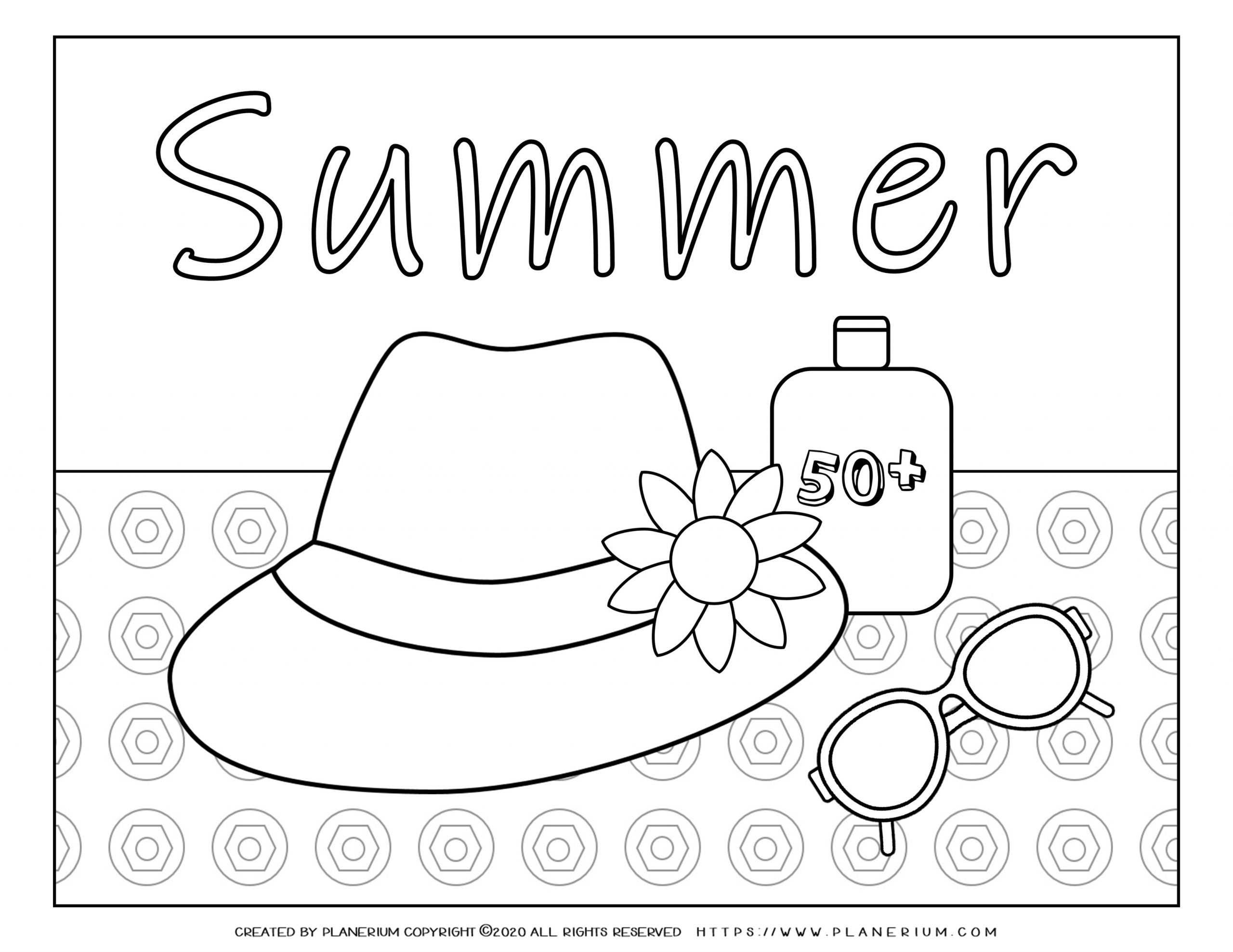 Summer Coloring Page Hat Sunglasses Sunscreen Planerium Summer Coloring Pages Free Coloring Pages Coloring Pages