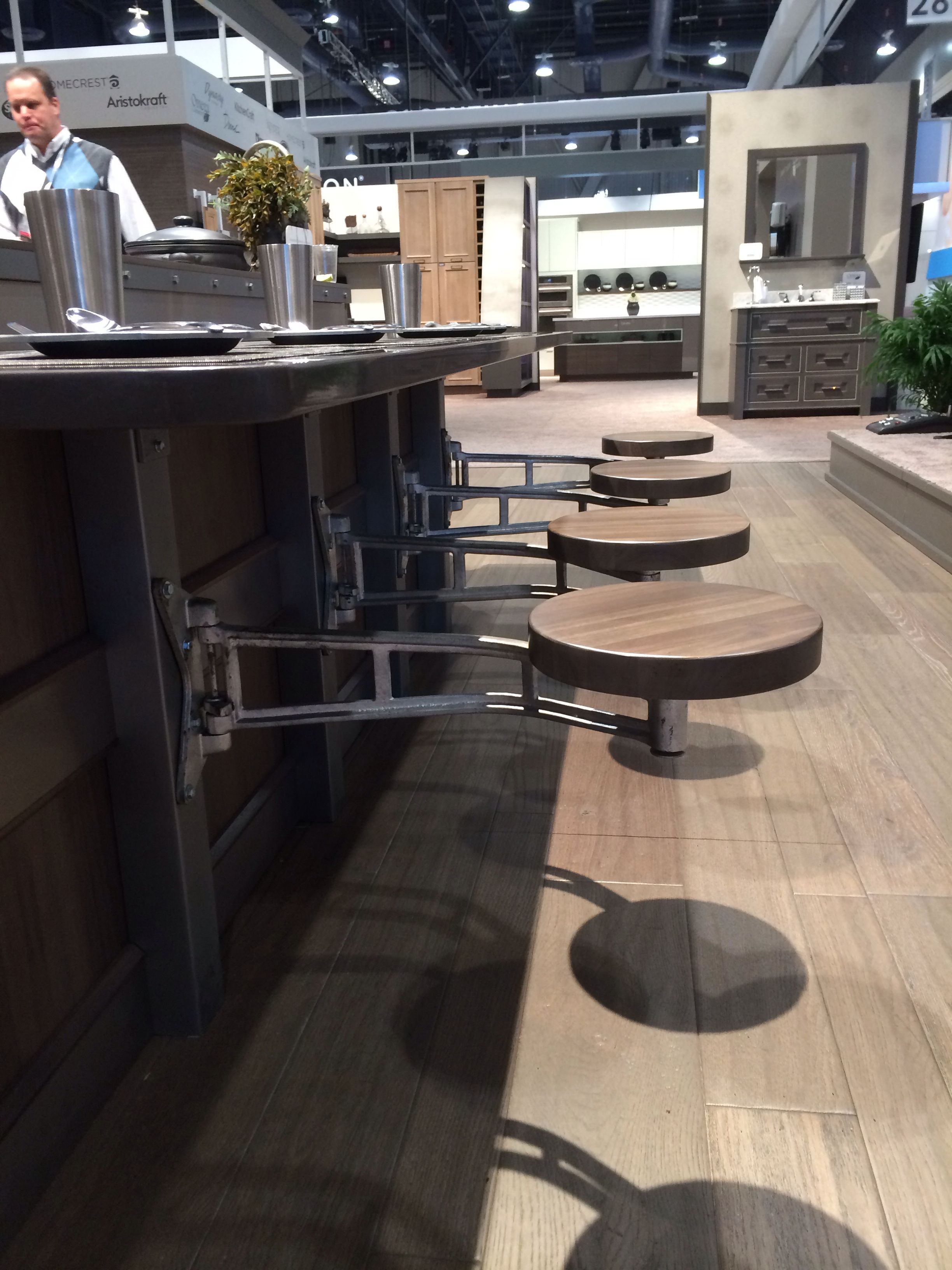 Add Your Kitchen With Kitchen Island With Stools: Swing-out Stools Are Functional And A Soace Saver For The