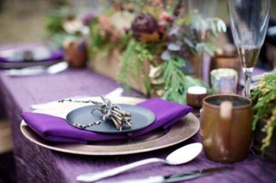 Cool 25 Thanksgiving Décor Ideas In Dramatic Purple With Wooden Table And Tableware Fall Ornament