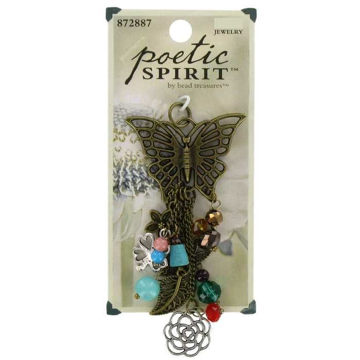 Butterfly, Charms & Chain Dangle Pendant