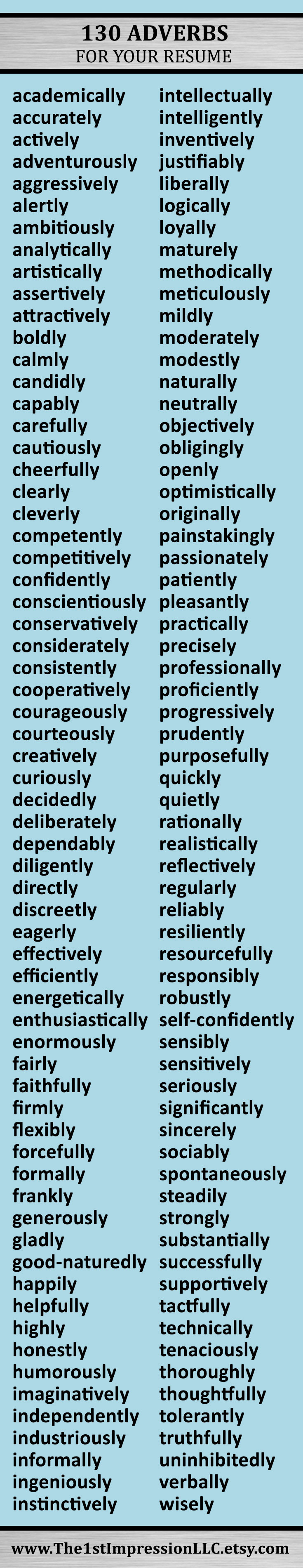 Huge list of 130 adverbs to help you write your resume! | Pinterest ...