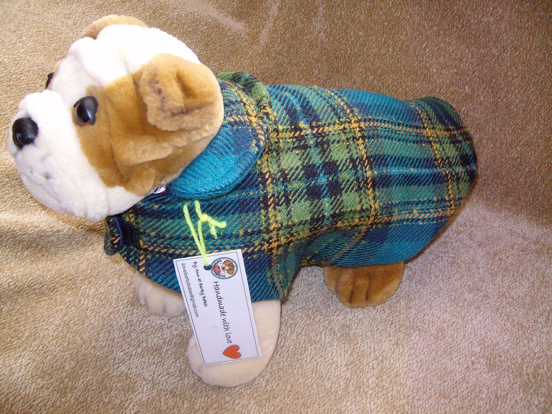 "15"" Wool Tartan Dog Jacket by BarkyBakesShop on Etsy"