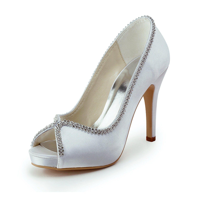 Zioso Tmz375 Women S Rhinestone Chains Satin Bridal Wedding Evening Formal Party Sandals Womens Wedding Shoes Rhinestone Wedding Shoes Satin Wedding Shoes