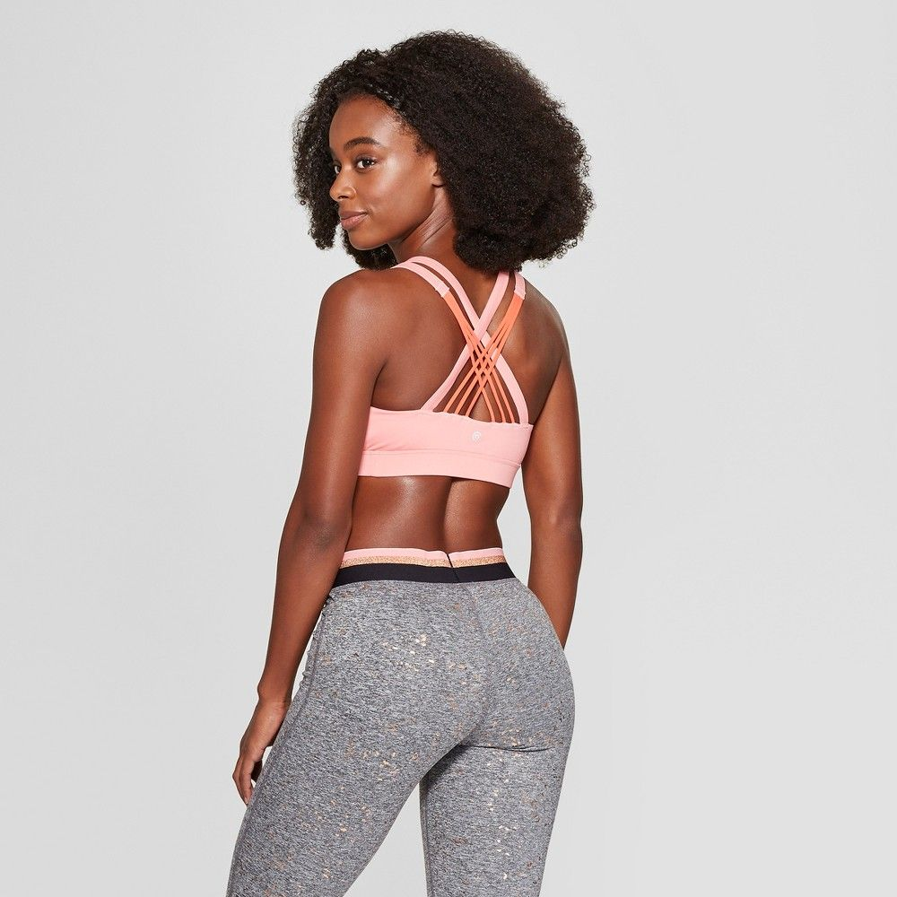 9792ad7629 The Women s Medium Support Padded Strappy Sports Bra from C9 Champion  features removable cups for added support and modesty. Stretch fabric moves  with you ...