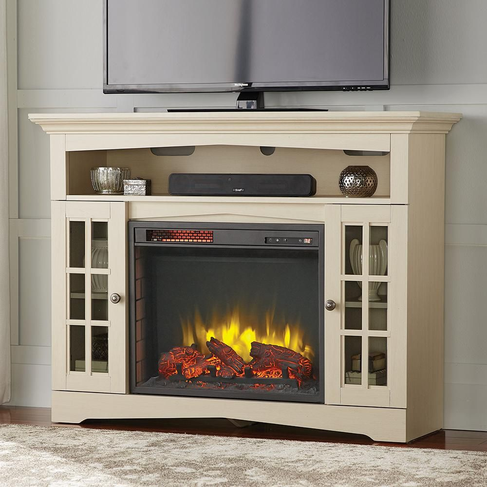 Home Decorators Collection Avondale Grove 48 In Tv Stand Infrared Electric Fireplace In Aged White 258 102 165 Y The Home Depot In 2020 Electric Fireplace Tv Stand Fireplace Tv Stand Electric Fireplace Entertainment Center