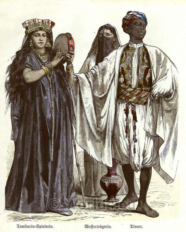55606d0558 Traditional Egyptian costumes 1850. Tambourine player, water wearer and  servant…