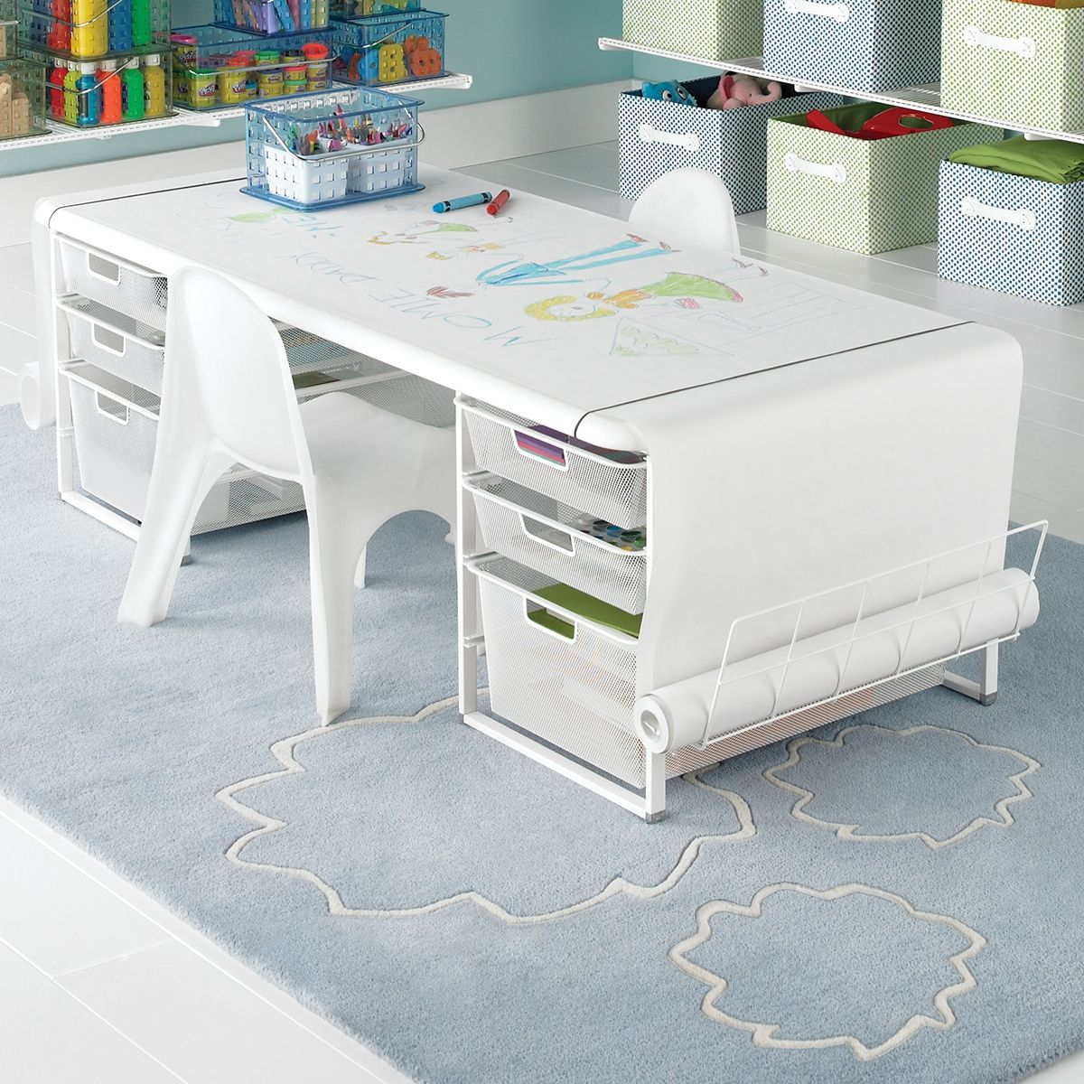 The elfa Kids\' Mesh Coloring Table is an adjustable desk your child ...