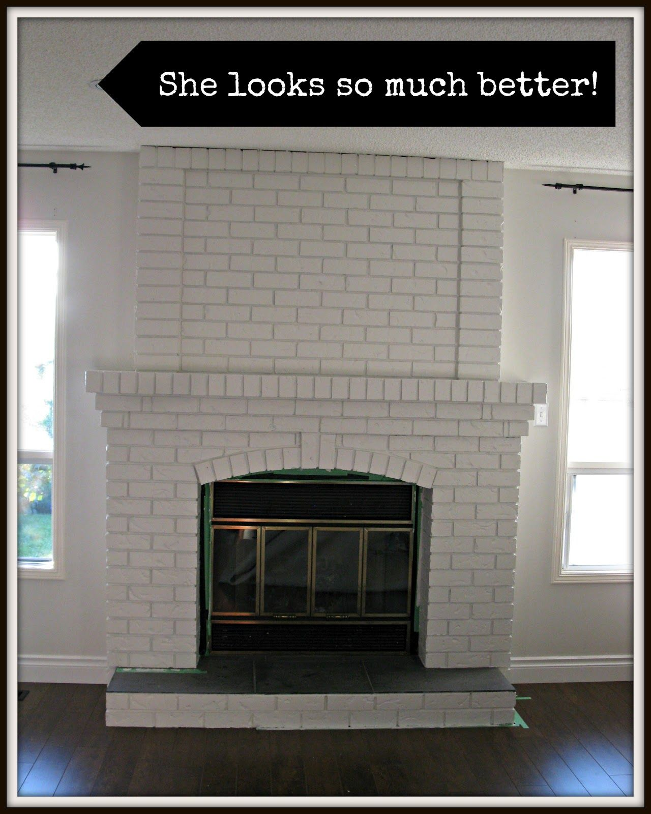 same fireplace without dark grout in white looks better to me