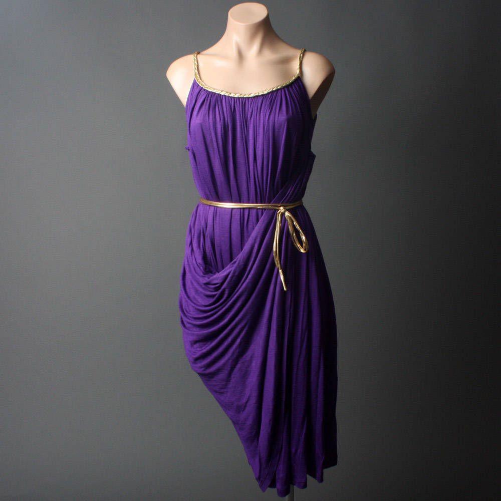Purple Grecian Dress   Purple Grecian Goddess Drape Draped Evening ...