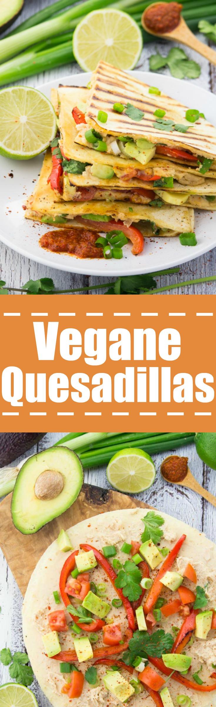 Vegane Queasadillas mit gegrillter Paprika und Avocado. Unglaublich lecker!!
