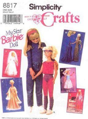 Free Copy Of Pattern Simplicity 8817 My Size Barbie Life Size