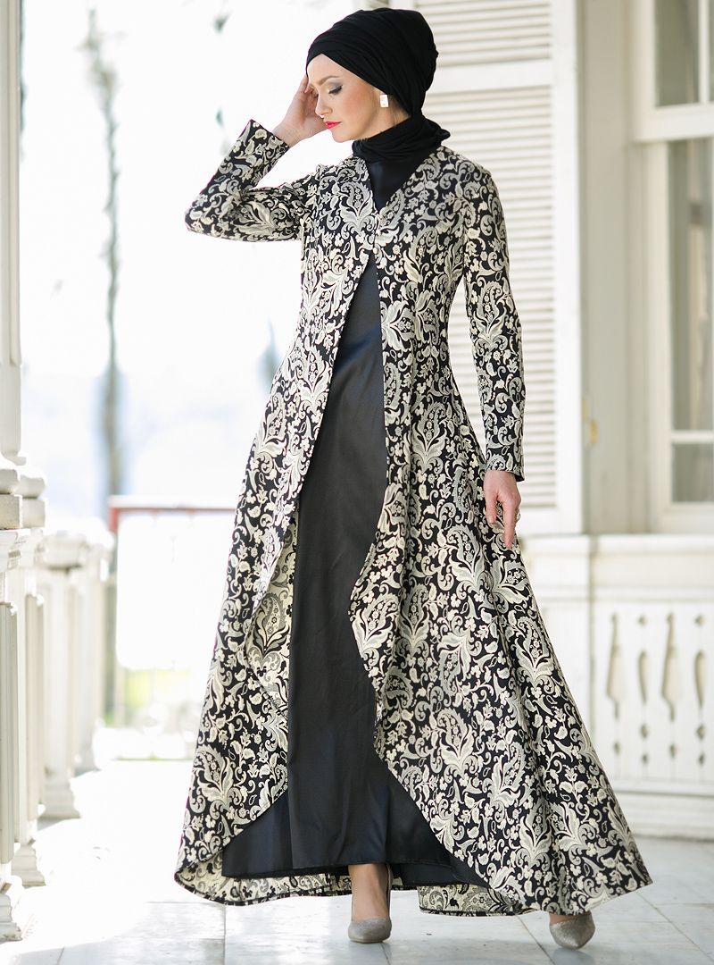 Ikili Takim Abiye Elbise Siyah Dersaadet Muslim Evening Dresses Trendy Dresses Batik Dress Modern