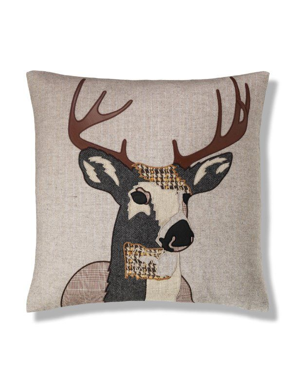 Quality Fabric Cushion Upholstery Craft Reindeer With Red Nose In The Snow