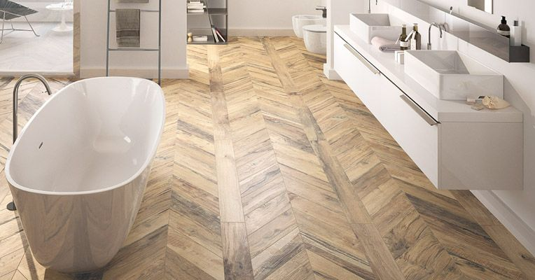 LOVE This Natural Toned Herringbone Flooring In The Bathrooms! The Other  Fitxures And Such Are A Bit Too Modern For My Liking.