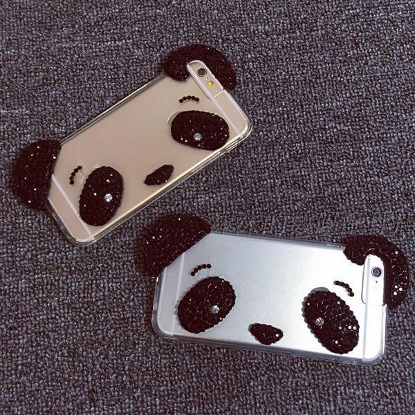 cute big head panda iphone case