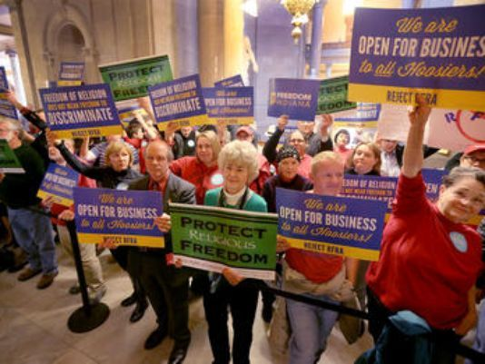 March 19, 2015: Proponents and opponents of the Indiana 'religious freedom act' demonstrate in the Statehouse.  (Photo: Matt Kryger/The Star)