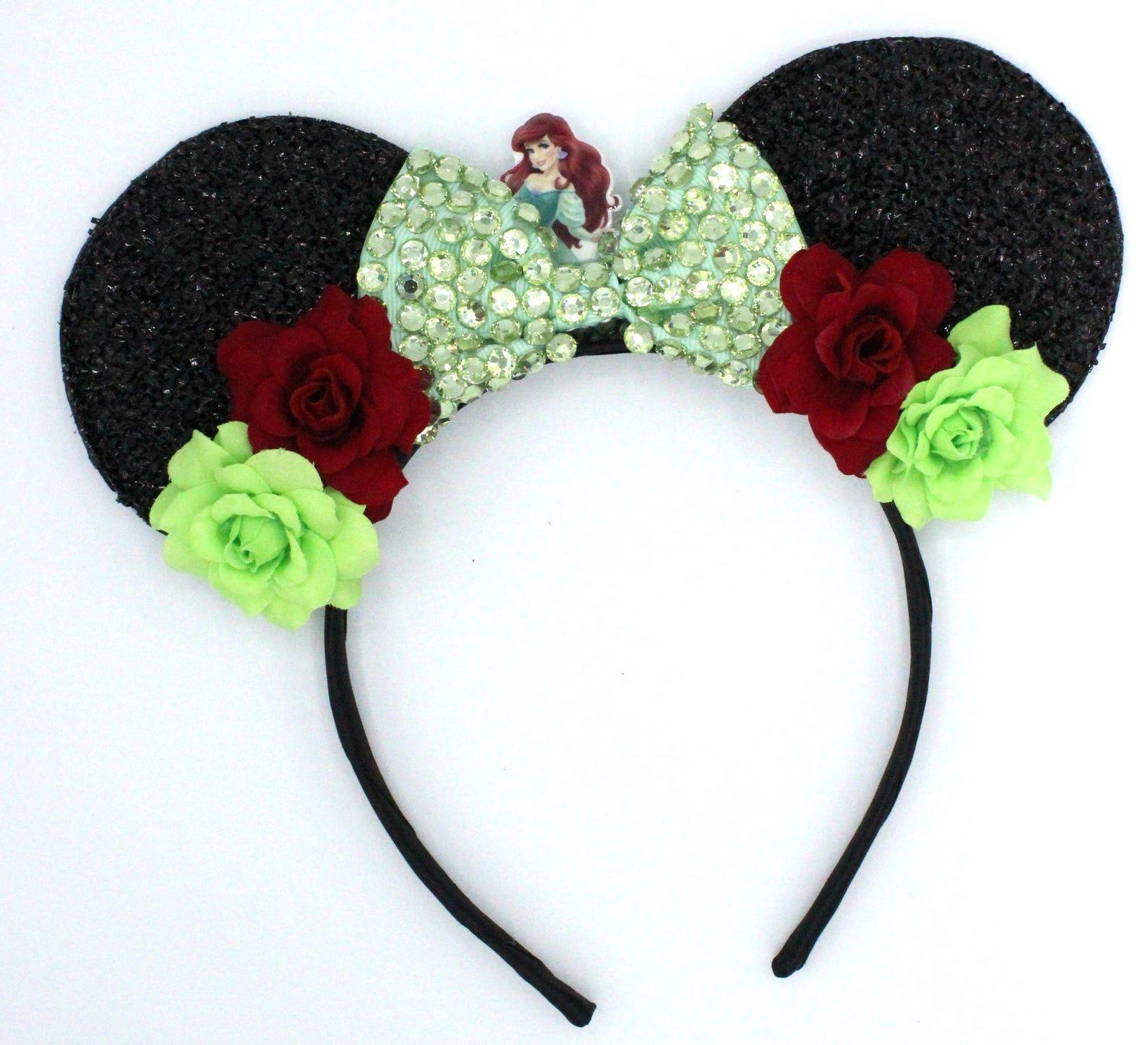 Disney Park Bow Mickey Minnie Mouse Ears The Little Mermaid Ariel Green Headband