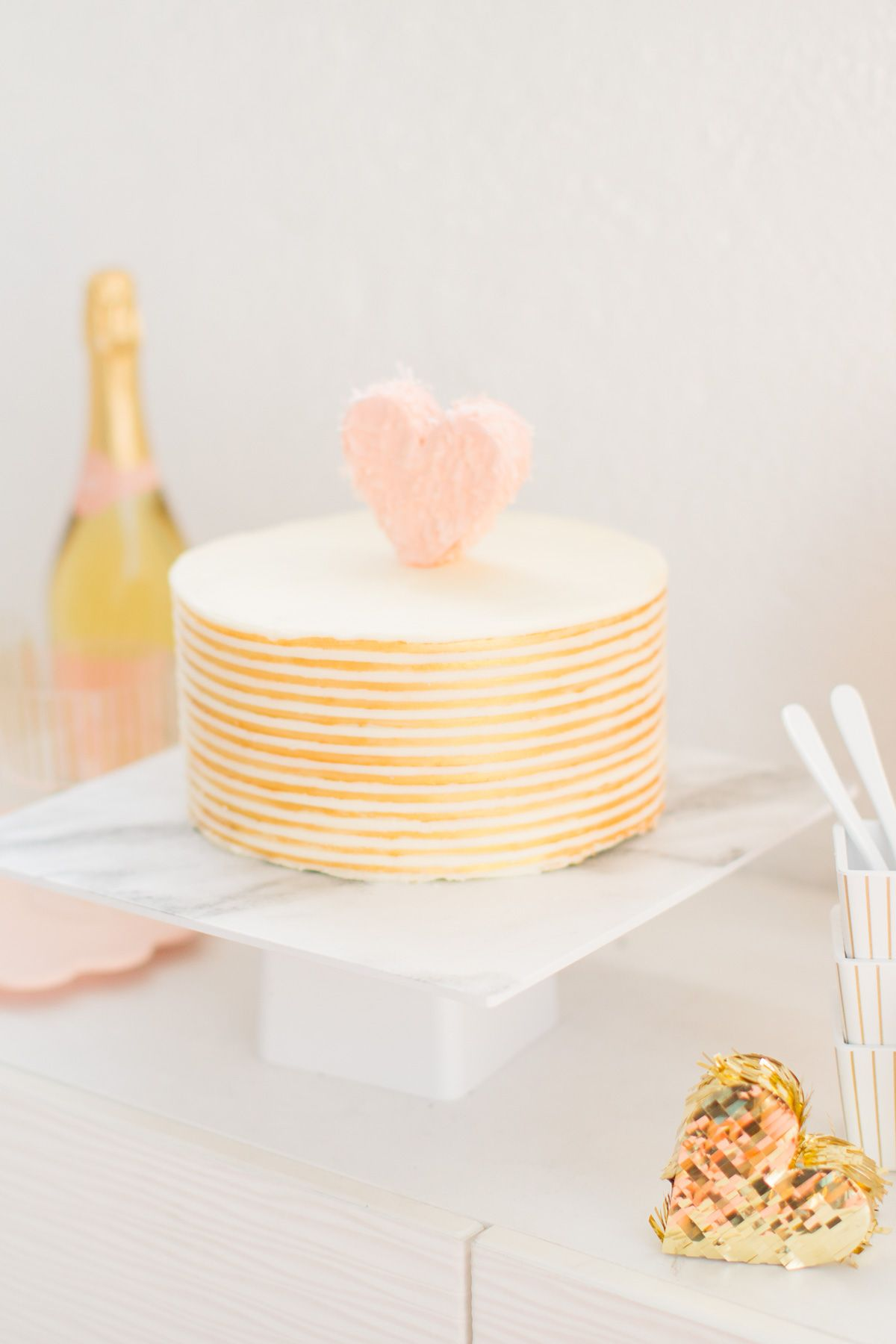 Pink & Gold Heart Cake