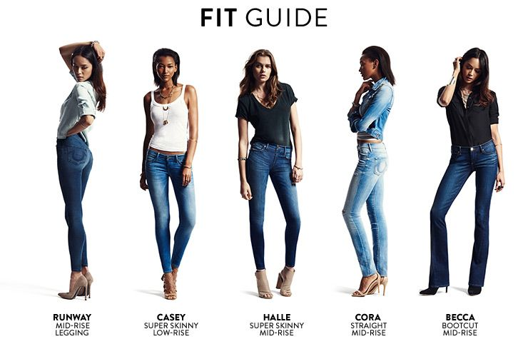 54a3bc41441 Fit guide for women s True Religion Brand Jeans. Runway  mid-rise legging.  Casey  super skinny low-rise. Halle  super skinny mid-rise.