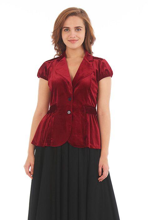 I <3 this Notch collar stretch velvet jacket from eShakti