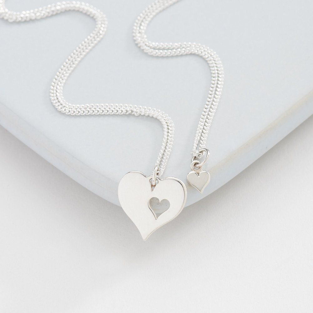 Me and my mummy silver heart necklace set by suzyqdesign