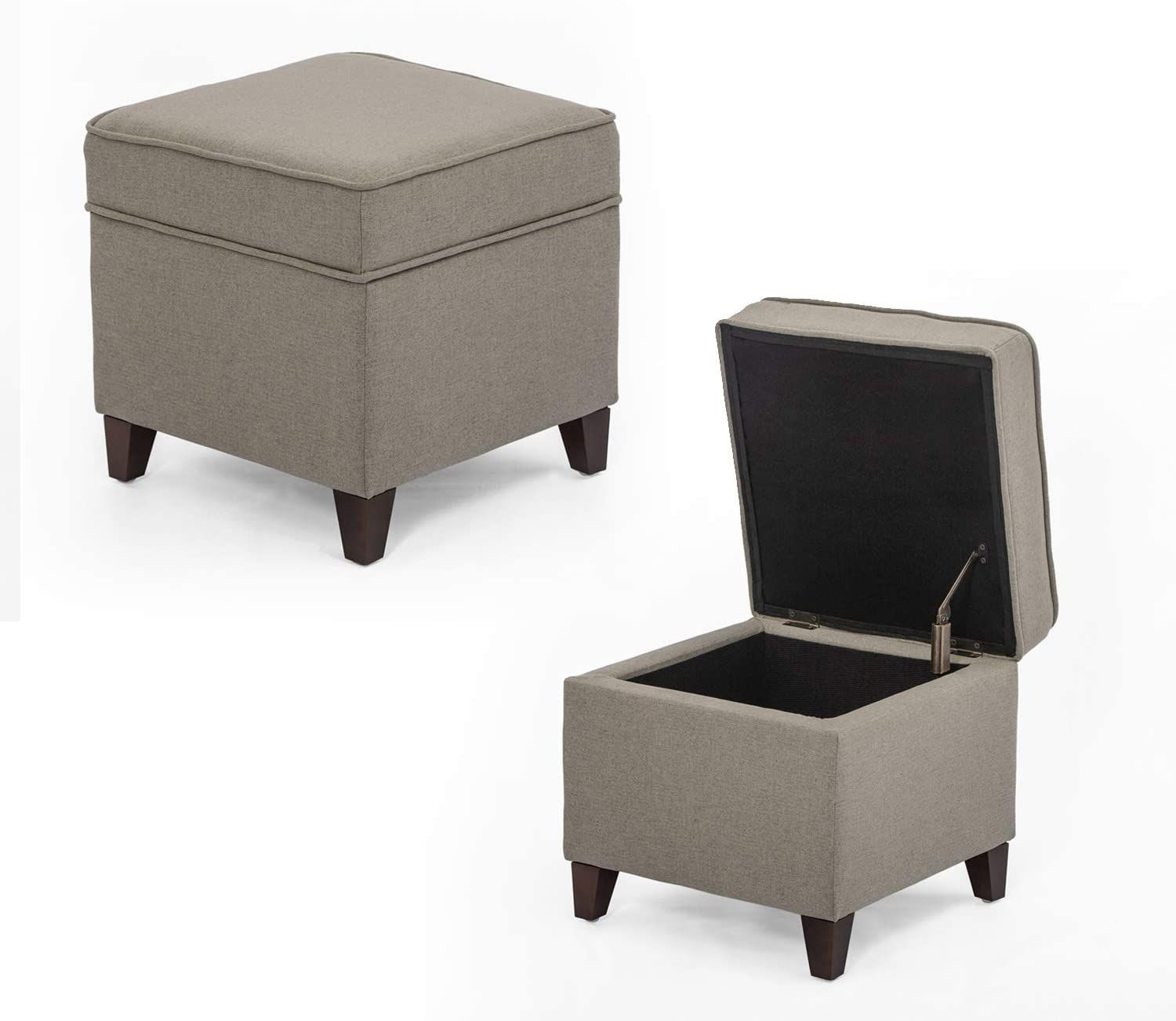 Adeco Fabric Ottoman With Storage Chest And Footrest Square Seat 18x18x15 Light Brown Home Square Storage Ottoman Storage Ottoman Storage Cube Ottoman [ jpg ]